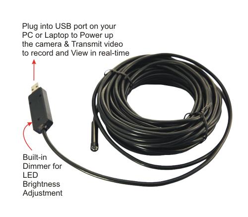 USB Waterproof Slim Endoscope Camera w/ LED Light - ECC-108